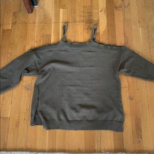 Army Green Shoulder Cutout Sweater